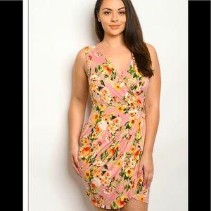 Floral Printed  Sleeveless Pencil Dress Plus Sizes